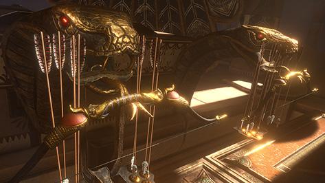 In der Welt von Assassins Creed dienen zwei Schlangenköpfe aus Metall als Halterung für Pfeil und Bogen.